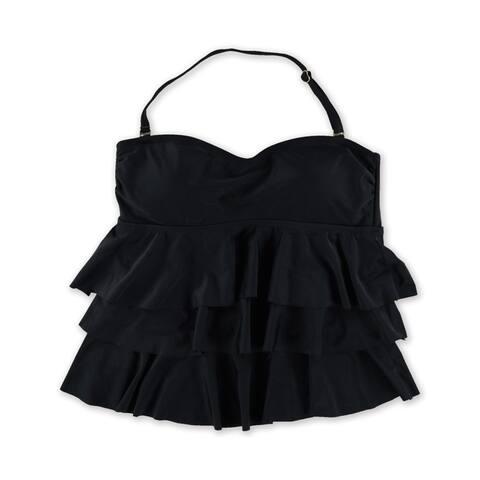 Island Escape Womens Tiered Bandini Swim Top, Black, 8