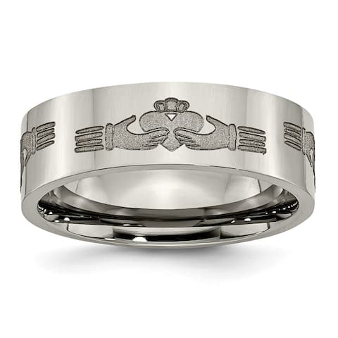 Chisel Titanium Flat 8mm Laser Design Polished Band