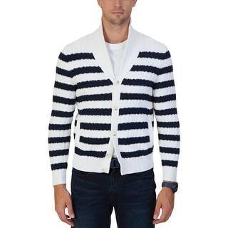 Nautica Mens Shawl-Collar Sweater Knit Striped|https://ak1.ostkcdn.com/images/products/is/images/direct/176375027f01751a4af9b4fc908ebf165ecc9e49/Nautica-Mens-Shawl-Collar-Sweater-Knit-Striped.jpg?impolicy=medium