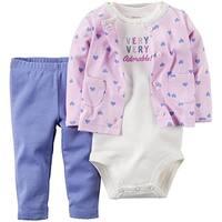 Carter's Baby Girls' 3 Piece Cardigan Set 126g109, Make Me Smile, 9 Months