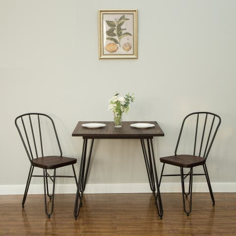 Glitzhome Farmhouse Industrial Elm Wood Steel Dining Set, 1 Table and 2 Chairs
