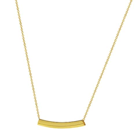 14k Yellow Gold Sliding ID Round Tube Bar Necklace