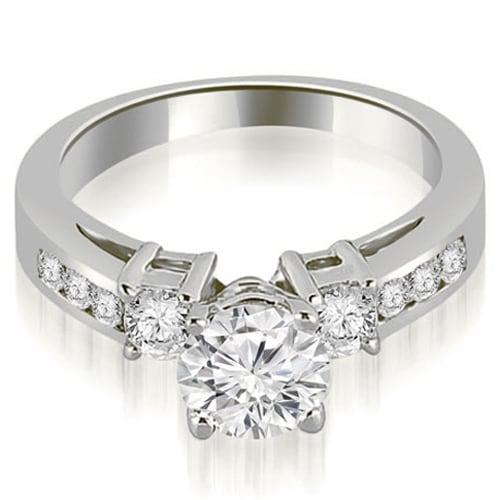 1.60 cttw. 14K White Gold Prong Set Round Cut Diamond Engagement Ring