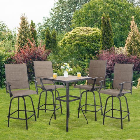PHI VILLA 5-Piece All-Weather Swivel Outdoor Dining (Padded) Sets With Bar Table