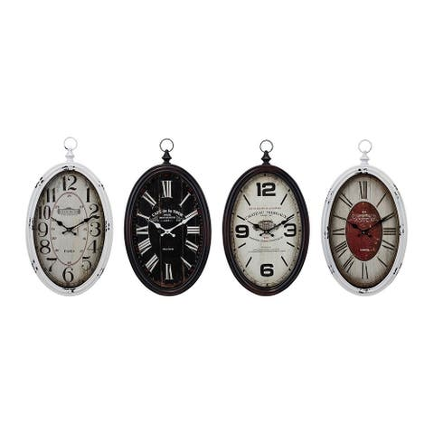 Set of 4 Black and White Analog Vintage Look Wall Clocks 23.5""
