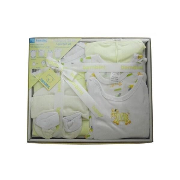 Bambini Yellow Newborn 7-Piece Pastel Interlock Boxed Gift Set
