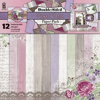 "Hot Off The Press Double-Sided Paper Pack 12""X12"" 12/Pkg-Picket Fence"