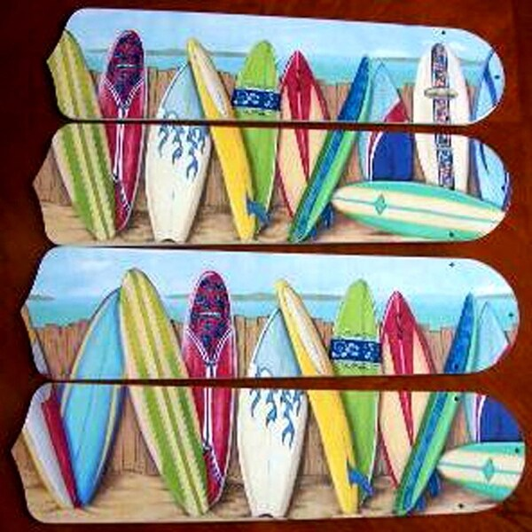 Hawaiian Surfboards Custom Designer 42in Ceiling Fan Blades Set - Multi