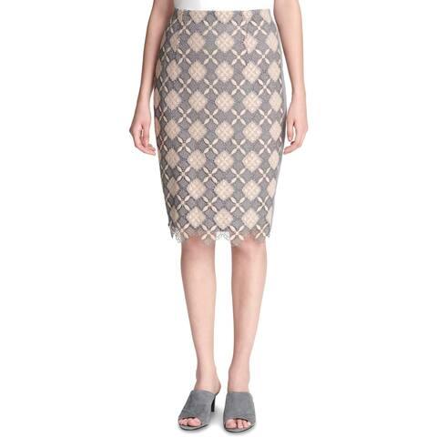 Calvin Klein Womens Pencil Skirt Lace Overlay Split Hem