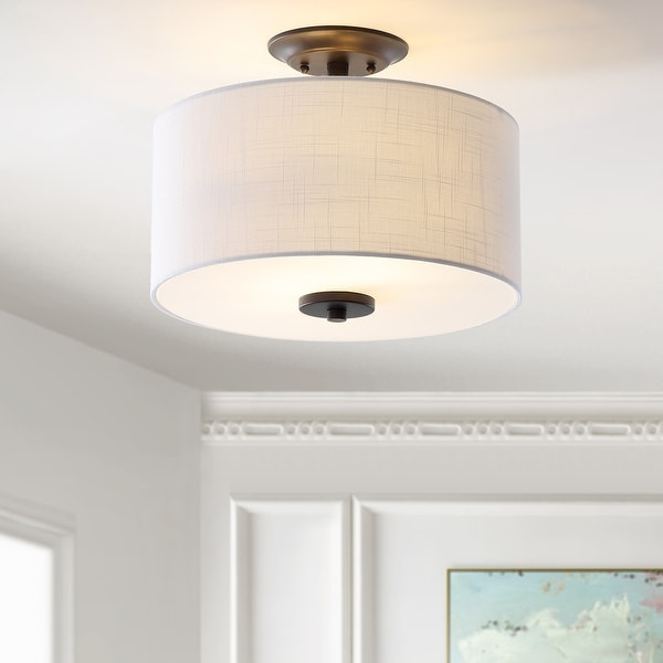 "Marc 15"" Metal LED Flush Mount, Oil Rubbed Bronze/White by JONATHAN Y. Opens flyout."