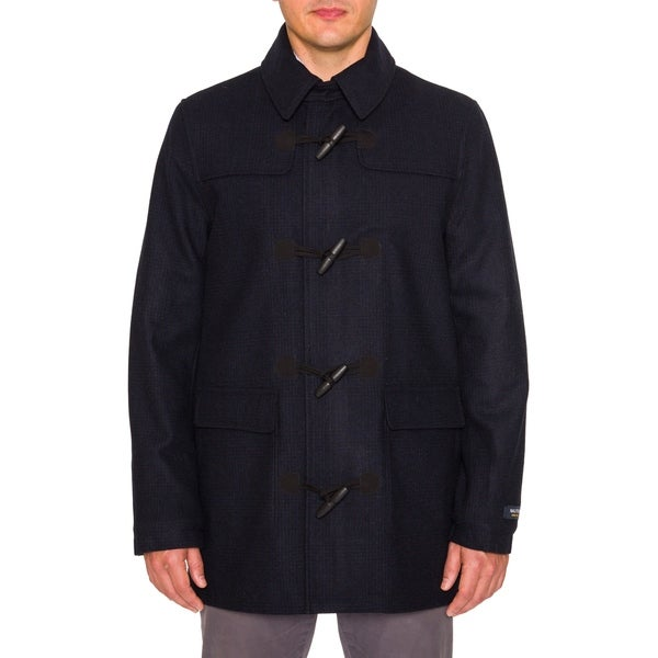 Nautica Mens Wool Blend Toggle Coat with Stand Collar