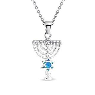 Hanukkah Menorah Lab Created Blue Opal Star of David Pendant Rhodium Plated Necklace 18 Inches
