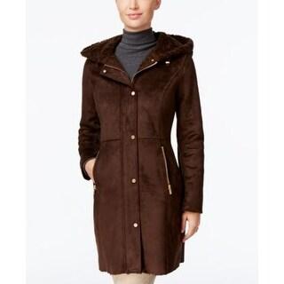Jones New York Hooded Faux-Shearling Walker Coat Chocolate Large
