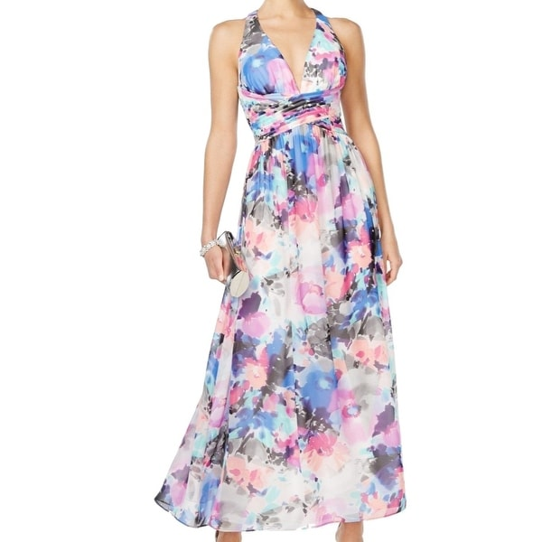 SLNY NEW Blue Pink Women's Size 6 Halter Floral Chiffon Maxi Dress