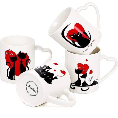 Bruntmor Set of 4 Love Cats Motivational romantic Ceramic Coffee Cat Mugs Wedding Or christmas gifts, 12 Oz