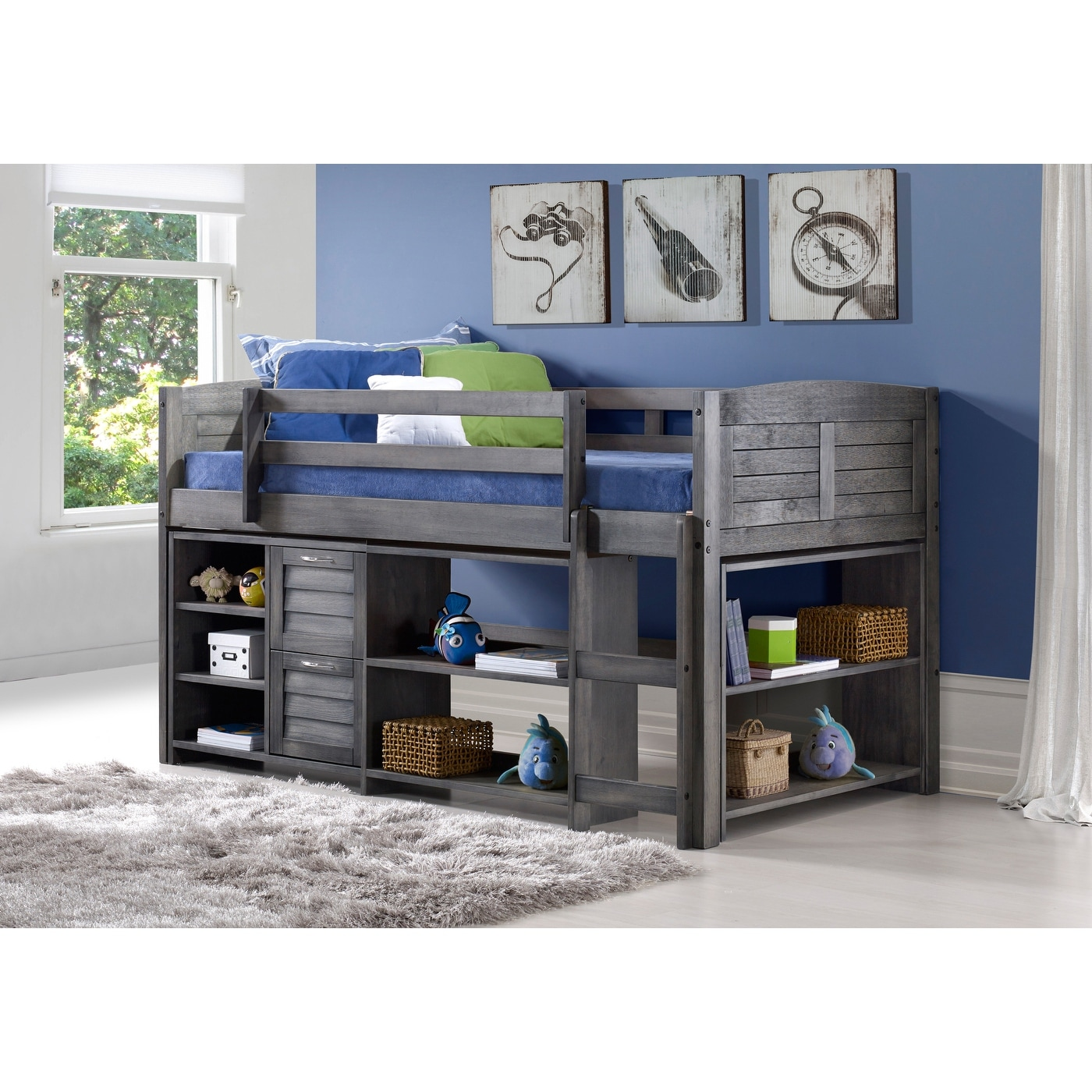 Picture of: Taylor Olive Dardanelle Grey Wood Twin Low Loft Bed Overstock 21907332
