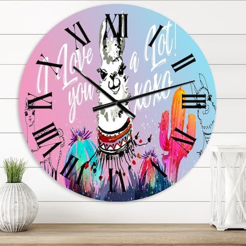 Designart 'I Love You A Lot Llama Cartoon' Children's Art wall clock