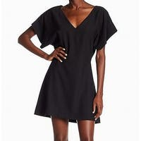 Free Press Black Women's Size Large L V-Neck Mini Shift Dress