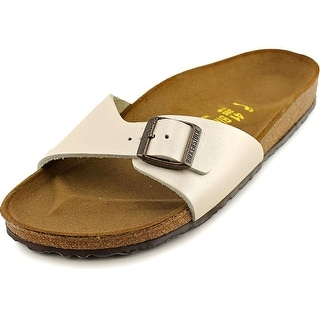 Birkenstock Madrid Women N/S Open Toe Leather Ivory Slides Sandal
