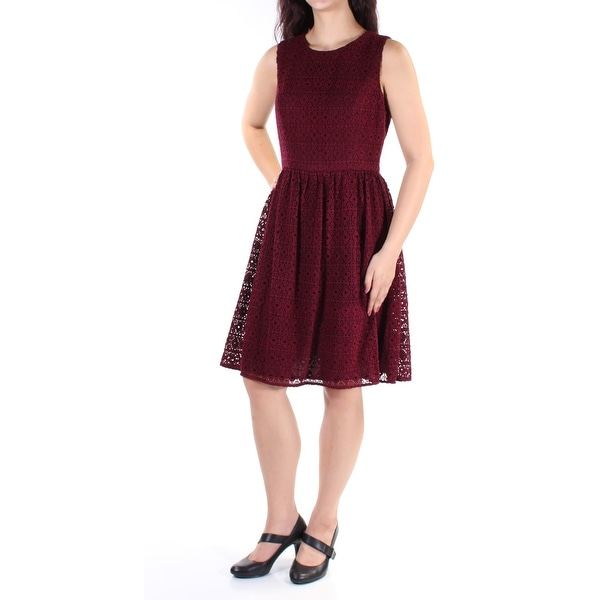 Shop Tommy Hilfiger Womens Maroon Knitted Sleeveless Jewel