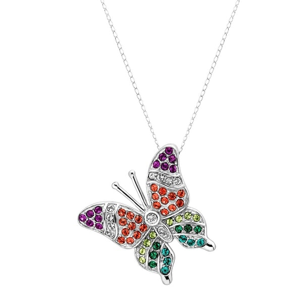 Crystaluxe Butterfly Pendant with Multi-Color Swarovski elements Crystals in Sterling Silver
