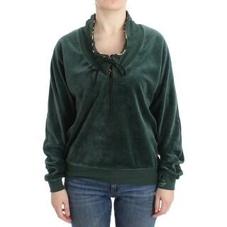 Cavalli Cavalli Green velvet cotton sweater