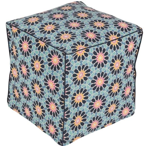 "18"" Blue and Orange Floral Patterned Cotton Square Pouf Ottoman - N/A"
