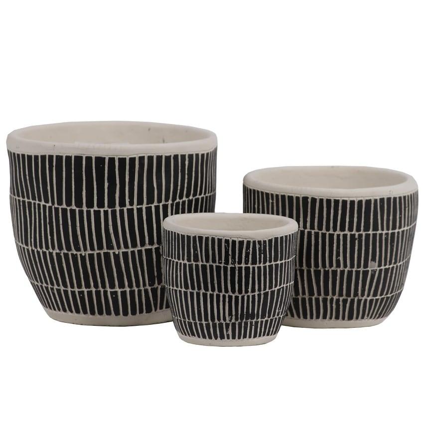 Irregular Stoneware Pot With Embossed Lattice Rectangle Design, Set of 3, Black