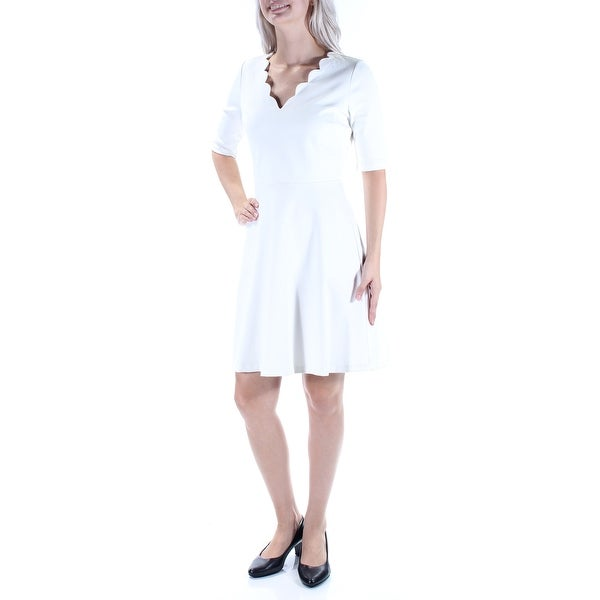 37383b43 Shop MAISON JULES Womens Ivory Scalloped Short Sleeve V Neck Above The Knee  Fit + Flare Dress Size: XS - Free Shipping On Orders Over $45 - Overstock -  ...