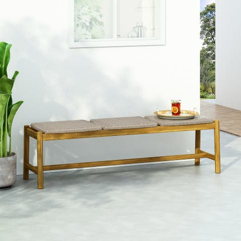 Cambria Wicker Bench by Christopher Knight Home