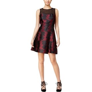 Kensie Womens Cocktail Dress Mesh Inset Embroidered