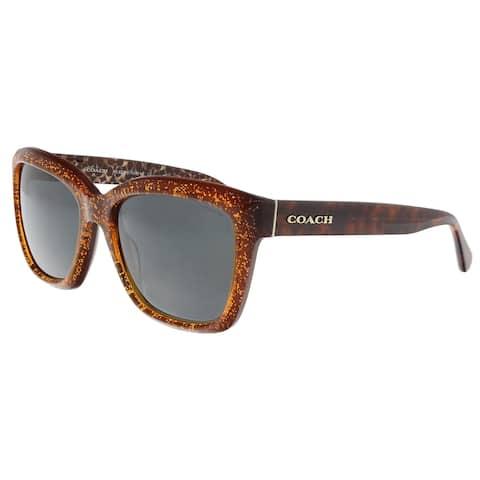 a9c0badf4e301 Coach HC8230 550487 Amber Glitter Rectangle Sunglasses - 57-18-140