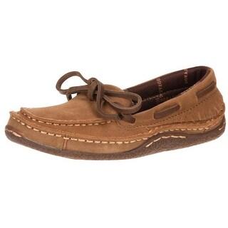 Durango Western Shoes Boys Santa Fe Suede Moccasin Desert Tan DBT0129