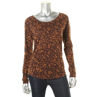 MICHAEL Michael Kors Womens Ruched Printed Pullover Top