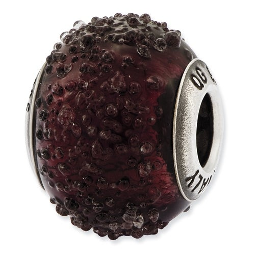 Italian Sterling Silver Reflections Dark Purple Textured Glass Bead