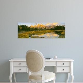 Easy Art Prints Panoramic Image 'Beaver Pond, Teton Range, Grand Teton National Park, Wyoming' Canvas Art