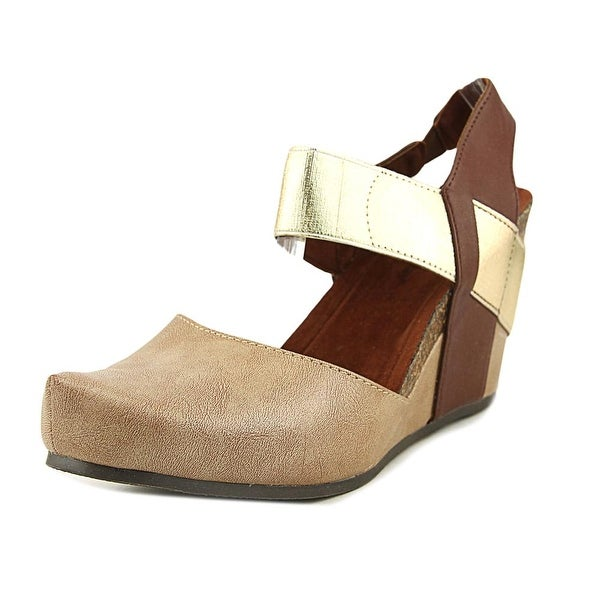 f62d07657adf Shop Pierre Dumas Enya-1 Women Open Toe Synthetic Gold Wedge Heel ...
