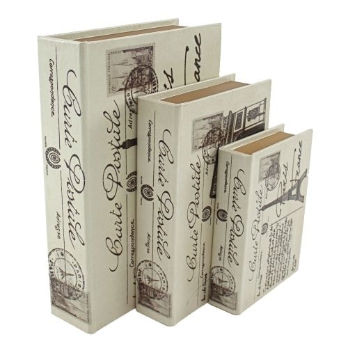 Aspire Home Accents 6660 Paris Faux Book Boxes (Set of 3)