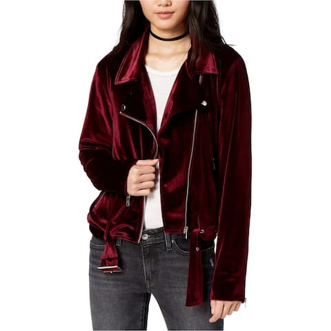 MinkPink Womens Velvet Motorcycle Jacket, red, Small