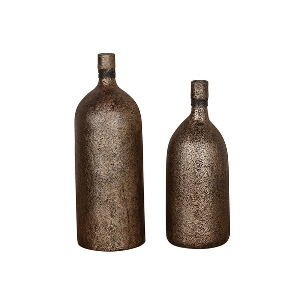 "Set of 2 Textured Antiqued Gold Vases 18"" - N/A"