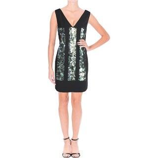 Vera Wang Womens Cocktail Dress Sequined Double-V