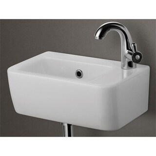 ALFI brand Small Wall Mounted Ceramic Bathroom Sink Basin - White
