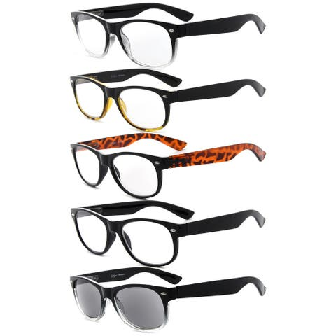 Eyekepper 5 Pack Retro Reading Glasses Include Sunglasses