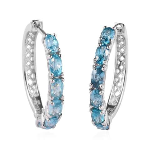 Platinum Over 925 Silver Blue Zircon Hoop Hoops Earrings Ct 4.4