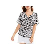 Two by Vince Camuto Womens Blouse Printed Short Sleeves