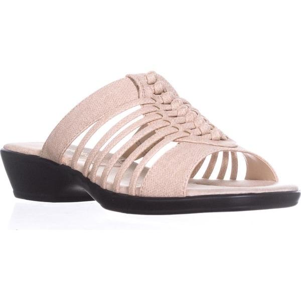 Easy Street Nola Strappy Slide Sandals, Beige Linen