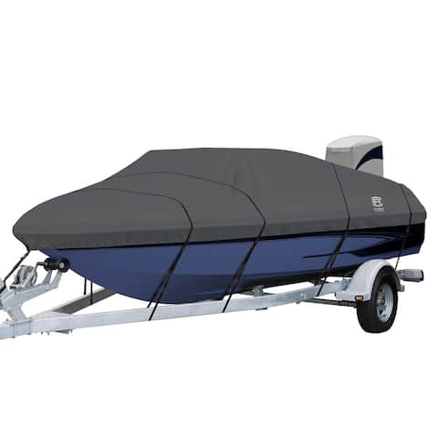 StormPro Heavy Duty V-Hull Inboard/Outboard Cover with Support Pole
