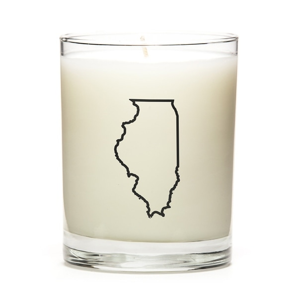 State Outline Soy Wax Candle, Illinois State, Fine Bourbon