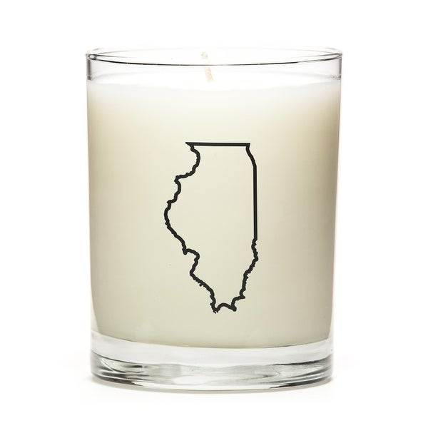 State Outline Soy Wax Candle, Illinois State, Fresh Linen