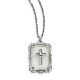 Silvertone Crystal Frosted Glass Cross Necklace - 18in
